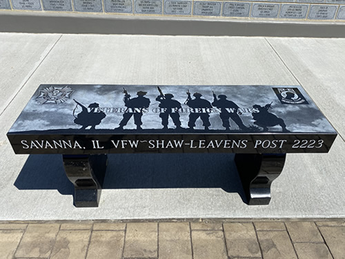 Bench in Stockton Illinois honoring a veteran.
