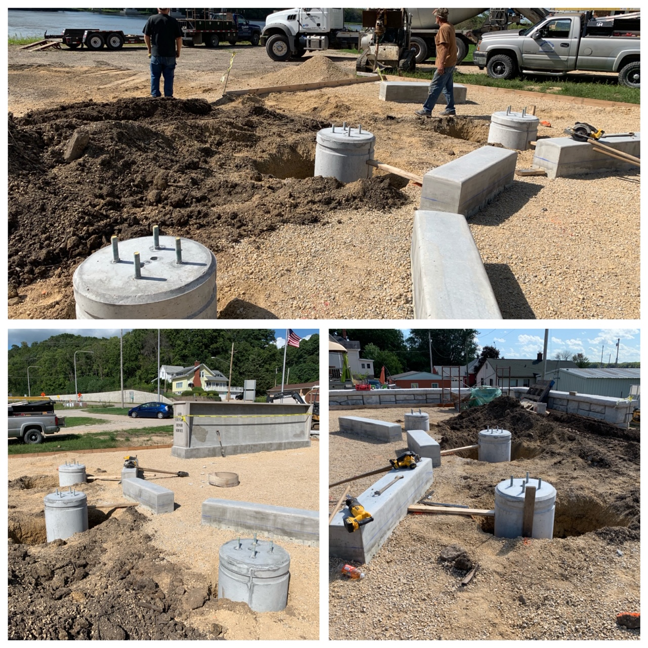 The Flagpole foundations are in place ready to install the flagpoles.