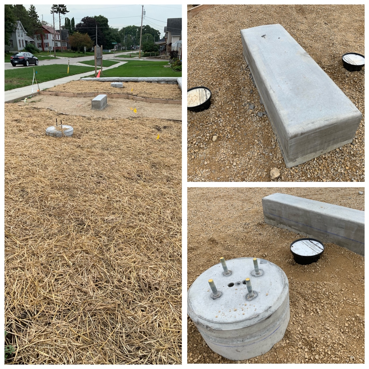 In-ground Lighting boxes and grass seed planted.